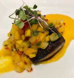 Course 3: Blackened Mahi Mahi w/mango salsa - created by Chef Ed