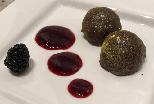 Course 5: Dark Cream Chocolate Truffles w/ gold dust, and a black berry reduction - created by Pastry Chef Alex