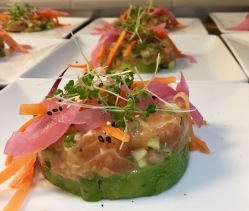 Course 2: Salmon Tartar w/sesame soy & pickled veggies - Created by Chef Sam