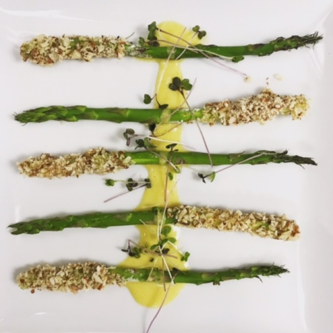 Course 1: Almond Encrusted Asparagus w/ Dijon Bearnaise - Created by Chef Ed